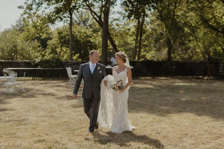 Bridal Entrence in Lace Stella York Gown | Outdoor Destination Wedding at Château de Saint Martory in France Planned by Senses Events | Danelle Bohane Photography | Matthias Guerin Films