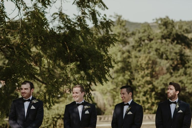Groomsmen in Paul Smith Black Tie Suits | Outdoor Destination Wedding at Château de Saint Martory in France Planned by Senses Events | Danelle Bohane Photography | Matthias Guerin Films