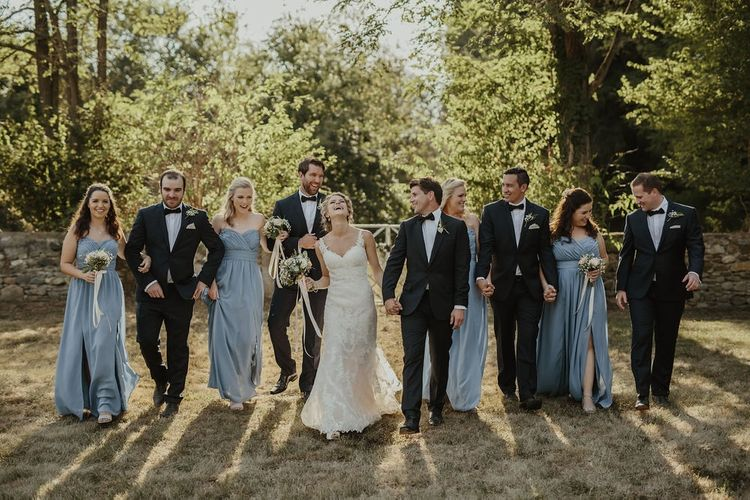 Wedding Party | Bride in Stella York Gown | Bridesmaids in Blue Dessy Dresses | Groomsmen in Black Tie | Outdoor Destination Wedding at Château de Saint Martory in France Planned by Senses Events | Danelle Bohane Photography | Matthias Guerin Films