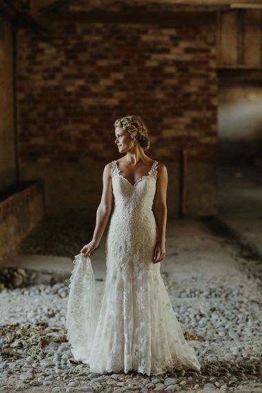 Bride in Lace Stella York Dress | Outdoor Destination Wedding at Château de Saint Martory in France Planned by Senses Events | Danelle Bohane Photography | Matthias Guerin Films