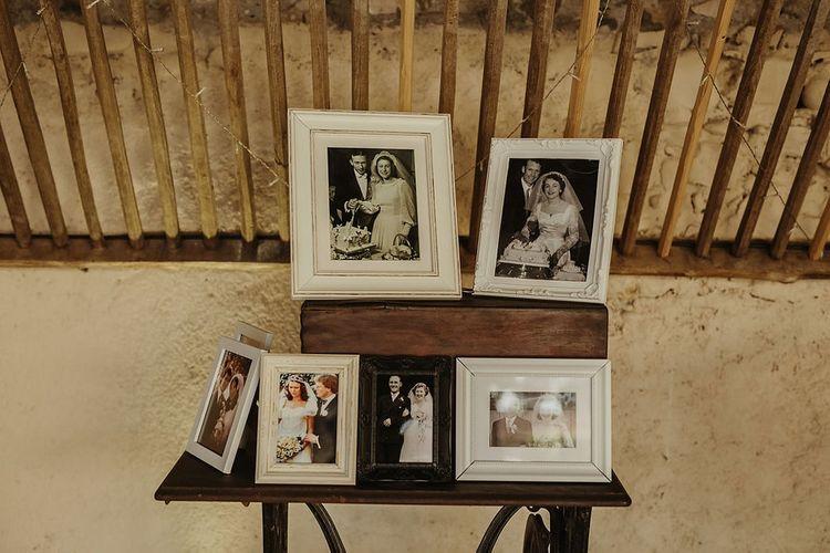 Old Photographs Wedding Decor | Outdoor Destination Wedding at Château de Saint Martory in France Planned by Senses Events | Danelle Bohane Photography | Matthias Guerin Films