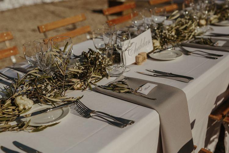 Elegant Table Scape | Outdoor Destination Wedding at Château de Saint Martory in France Planned by Senses Events | Danelle Bohane Photography | Matthias Guerin Films