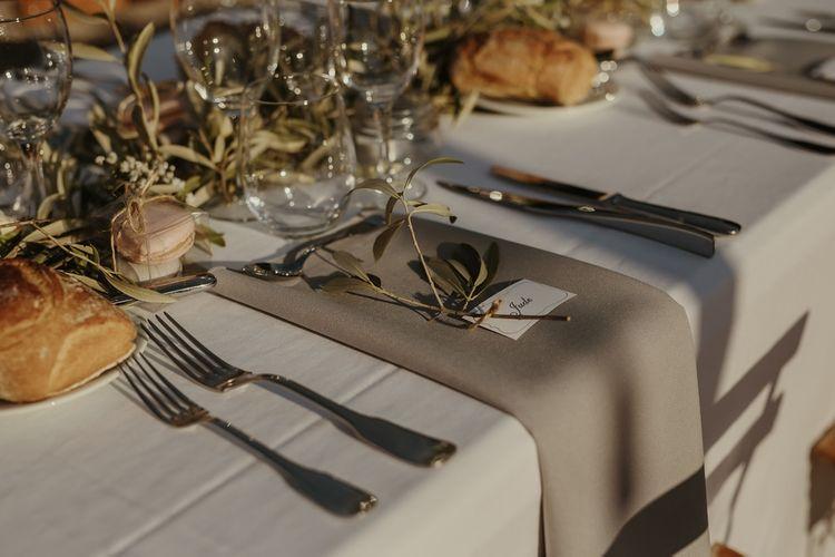 Elegant Place Setting | Outdoor Destination Wedding at Château de Saint Martory in France Planned by Senses Events | Danelle Bohane Photography | Matthias Guerin Films