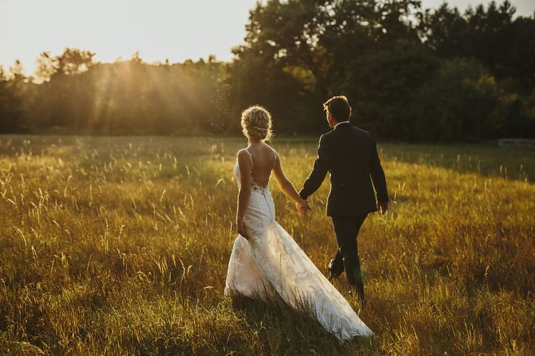 Golden Hour | Bride in Lace Stella York Dress | Groom in Black Tie | Outdoor Destination Wedding at Château de Saint Martory in France Planned by Senses Events | Danelle Bohane Photography | Matthias Guerin Films