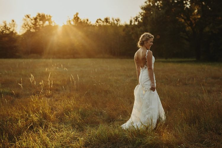 Golden Hour | Bride in Lace Stella York Dress | Outdoor Destination Wedding at Château de Saint Martory in France Planned by Senses Events | Danelle Bohane Photography | Matthias Guerin Films