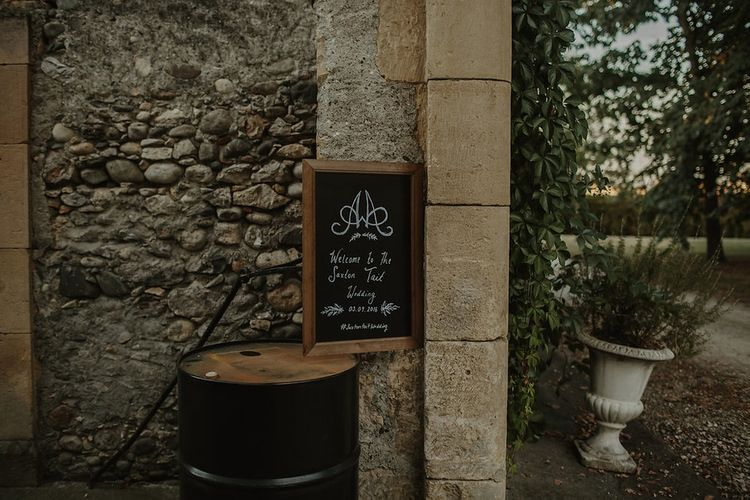 Black Board Wedding Sign | Outdoor Destination Wedding at Château de Saint Martory in France Planned by Senses Events | Danelle Bohane Photography | Matthias Guerin Films