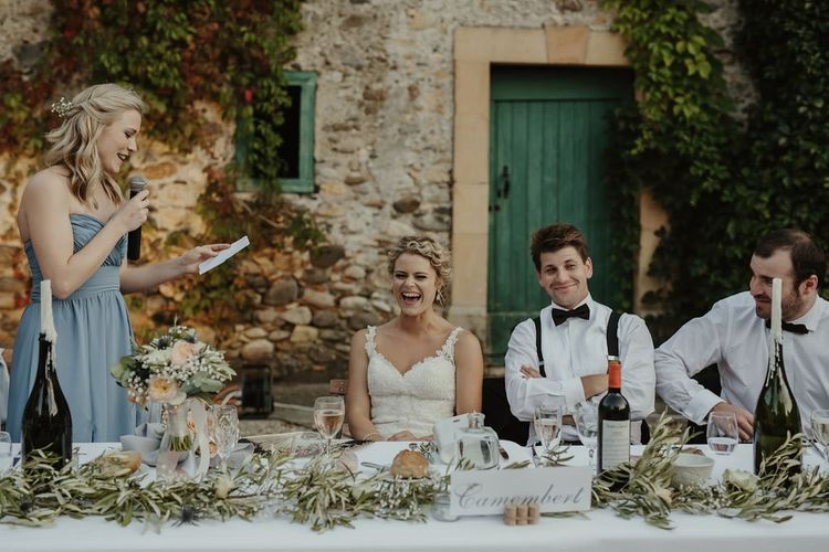 Wedding Reception Speeches | Outdoor Destination Wedding at Château de Saint Martory in France Planned by Senses Events | Danelle Bohane Photography | Matthias Guerin Films