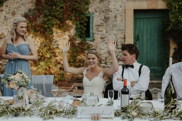 Speeches | Bride in Lace Stella York Dress | Groom in Black Tie | Outdoor Destination Wedding at Château de Saint Martory in France Planned by Senses Events | Danelle Bohane Photography | Matthias Guerin Films