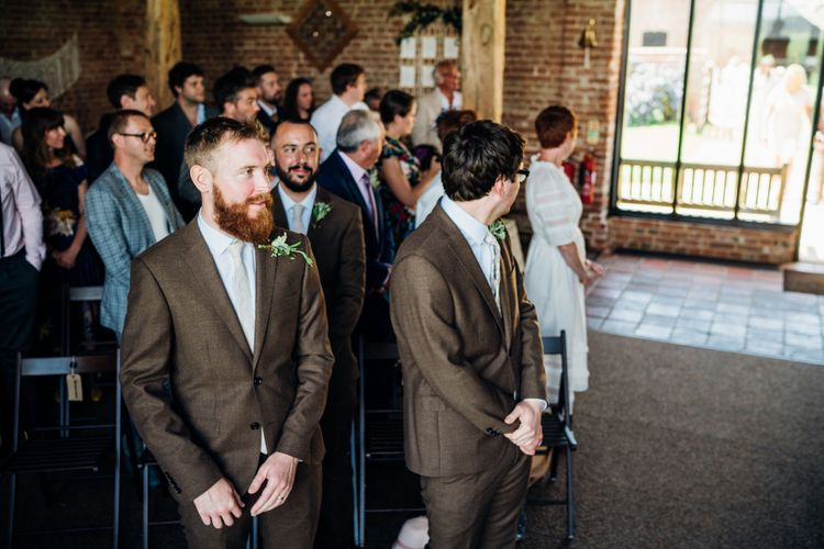 Groomsmen in Brown Next Suit | Bohemian Wedding at Woodfarm Barn, Suffolk | The Steed Photography
