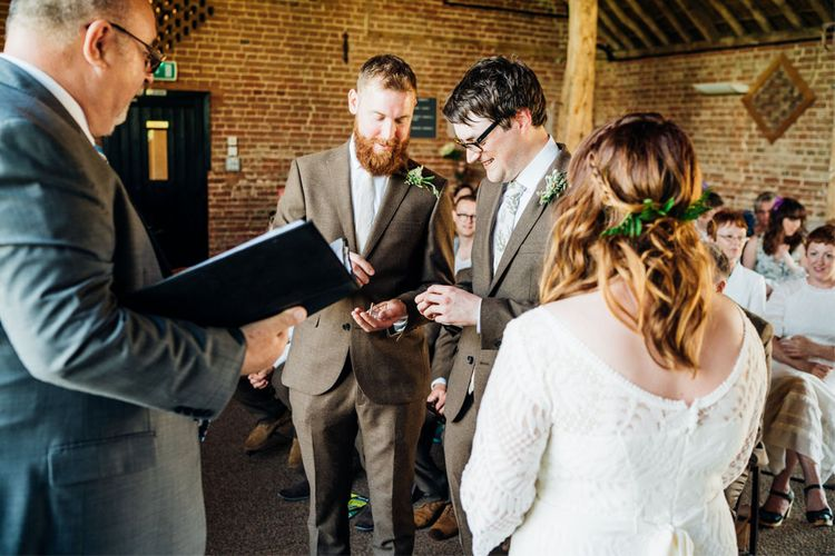 Wedding Ceremony | Bride in Lucy Can't Dance Jungle Fever Bridal Gown | Groom in Brown Next Suit | Bohemian Wedding at Woodfarm Barn, Suffolk | The Steed Photography