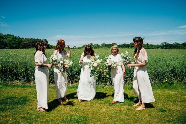 Bridal Party | Bride in Lucy Can't Dance Jungle Fever Bridal Gown | Bridesmaids in White Mango Dresses | Bohemian Wedding at Woodfarm Barn, Suffolk | The Steed Photography