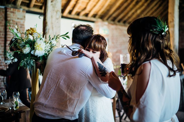 Bride in Lucy Can't Dance Jungle Fever Bridal Gown | Bohemian Wedding at Woodfarm Barn, Suffolk | The Steed Photography