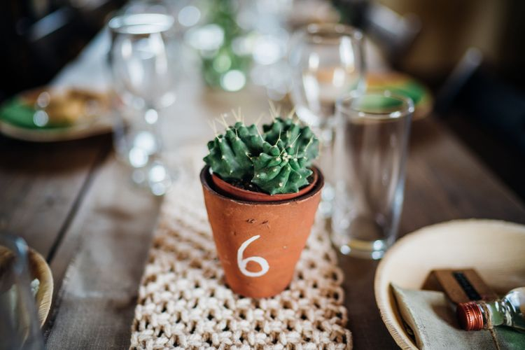 Succulent Plant Pot Table Number & Macrame Table Runner Wedding Decor | Bohemian Wedding at Woodfarm Barn, Suffolk | The Steed Photography