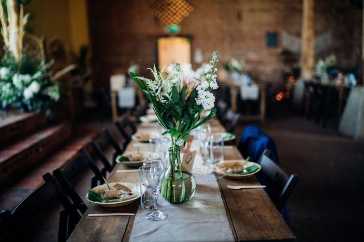 Floral Centrepiece | Bohemian Wedding at Woodfarm Barn, Suffolk | The Steed Photography