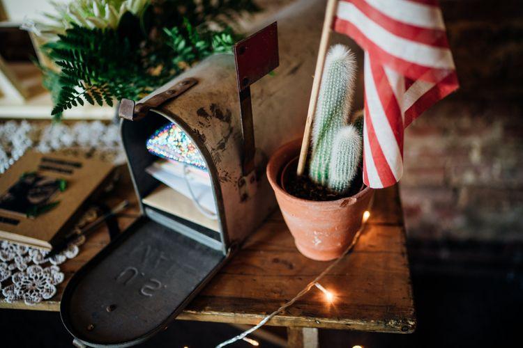 American Mail Box Wedding Card Box | Bohemian Wedding at Woodfarm Barn, Suffolk | The Steed Photography