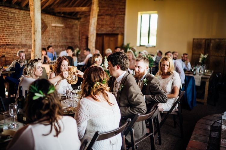 Speeches | Bride in Lucy Can't Dance Jungle Fever Bridal Gown | Groom in Brown Next Suit | Bohemian Wedding at Woodfarm Barn, Suffolk | The Steed Photography
