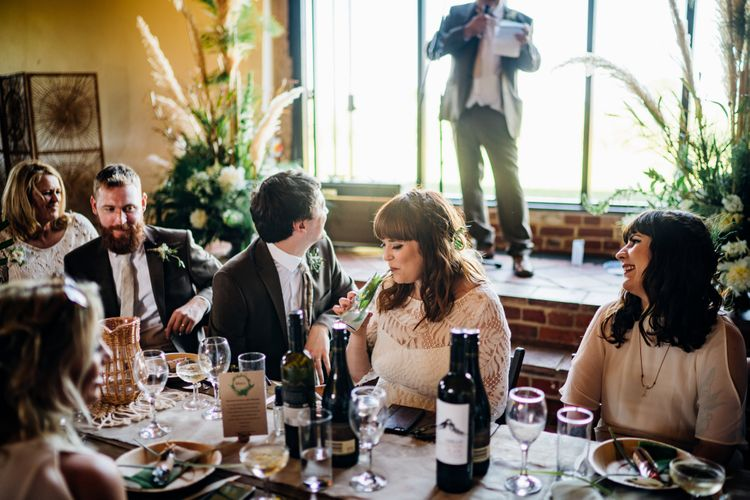 Wedding Reception | Bride in Lucy Can't Dance Jungle Fever Bridal Gown | Groom in Brown Next Suit | Bohemian Wedding at Woodfarm Barn, Suffolk | The Steed Photography