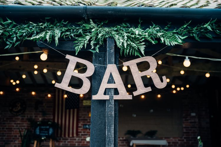 Bar & Greenery Wedding Decor | Bohemian Wedding at Woodfarm Barn, Suffolk | The Steed Photography