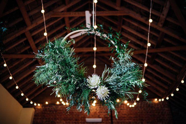 Greenery Hoop Wedding Decor | Bohemian Wedding at Woodfarm Barn, Suffolk | The Steed Photography