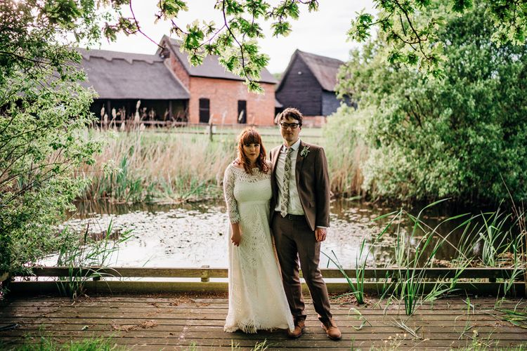 Bride in Lucy Can't Dance Jungle Fever Bridal Gown | Groom in Brown Next Suit | Bohemian Wedding at Woodfarm Barn, Suffolk | The Steed Photography