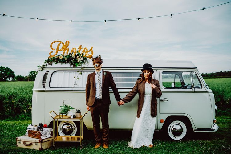 Photo Booth Camper Van | Bride in Lucy Can't Dance Jungle Fever Bridal Gown | Groom in Brown Next Suit | Bohemian Wedding at Woodfarm Barn, Suffolk | The Steed Photography
