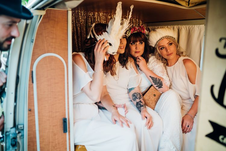 Bridal Party in Photo Booth | Bohemian Wedding at Woodfarm Barn, Suffolk | The Steed Photography