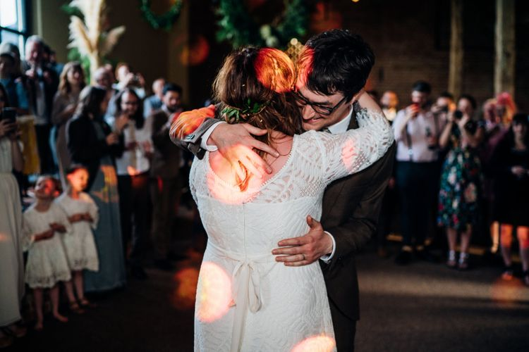 First Dance | Bride in Lucy Can't Dance Jungle Fever Bridal Gown | Groom in Brown Next Suit | Bohemian Wedding at Woodfarm Barn, Suffolk | The Steed Photography
