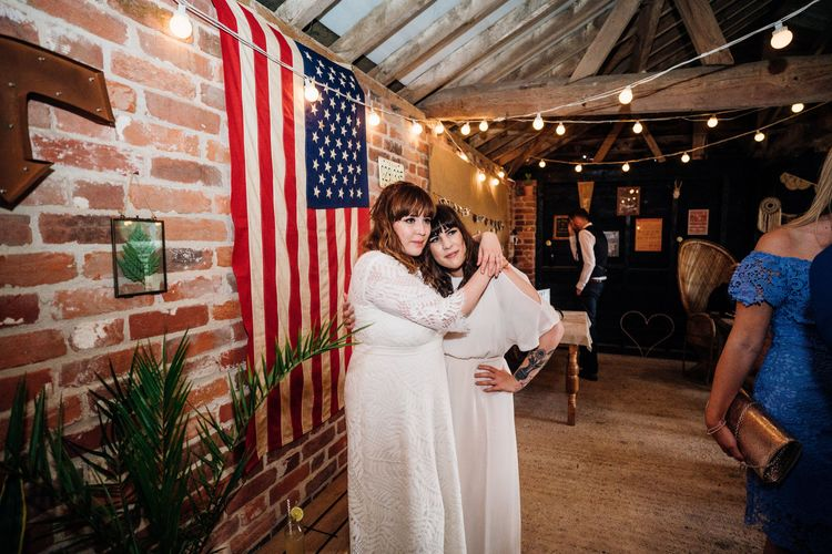 Reception | Bride in Lucy Can't Dance Jungle Fever Bridal Gown | Bridesmaid in White Mango Dress | Bohemian Wedding at Woodfarm Barn, Suffolk | The Steed Photography