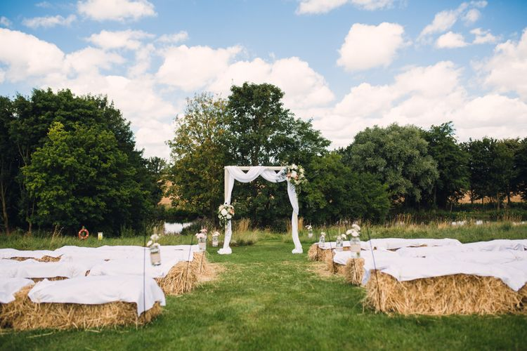 Outdoor Ceremony with Hay Bale Seating