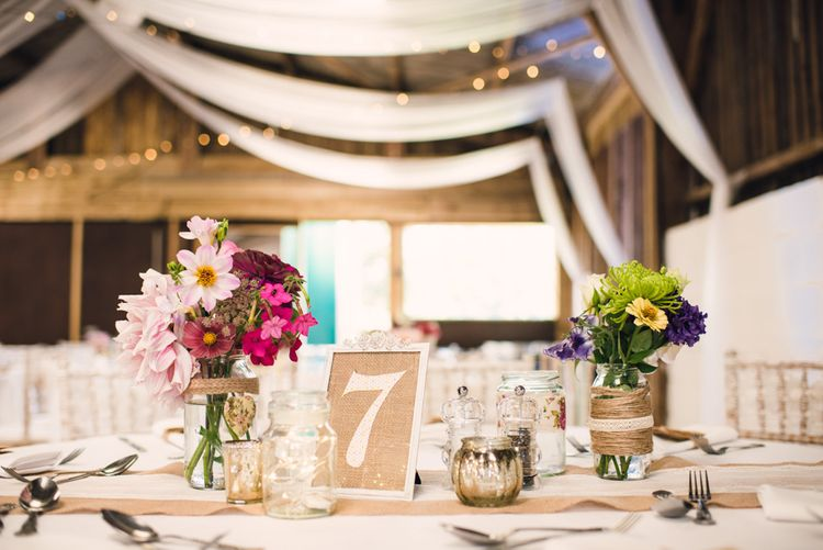 Rustic Reception Decor with Draped Ceiling