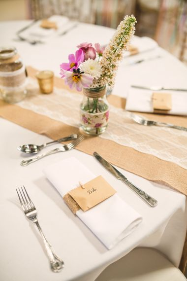 Hessian and Lace Table Runner & Jars with Flower Stems