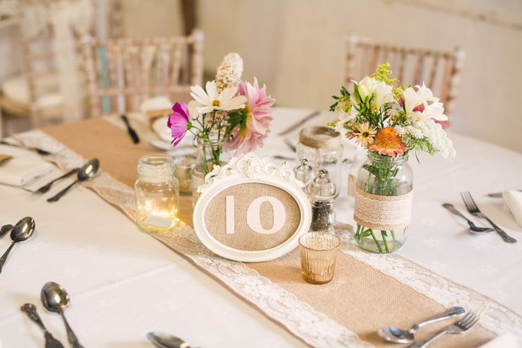 Hessian Table Runner & Jars with Flowers Centrepiece