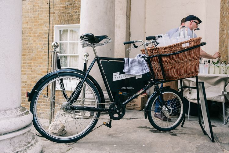 Travelling Gin Company Bike | Peach & Mint Intimate Wedding Ceremony at the Asylum & Art Deco Reception at Brockwell Lido, London | Babb Photo