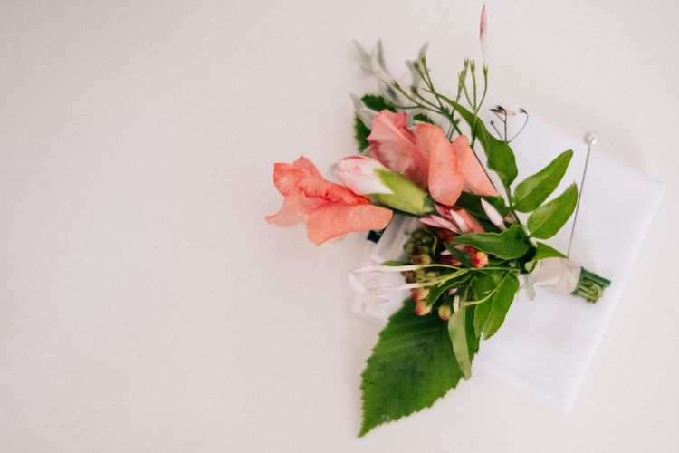 Buttonhole | Peach & Mint Intimate Wedding Ceremony at the Asylum & Art Deco Reception at Brockwell Lido, London | Babb Photo
