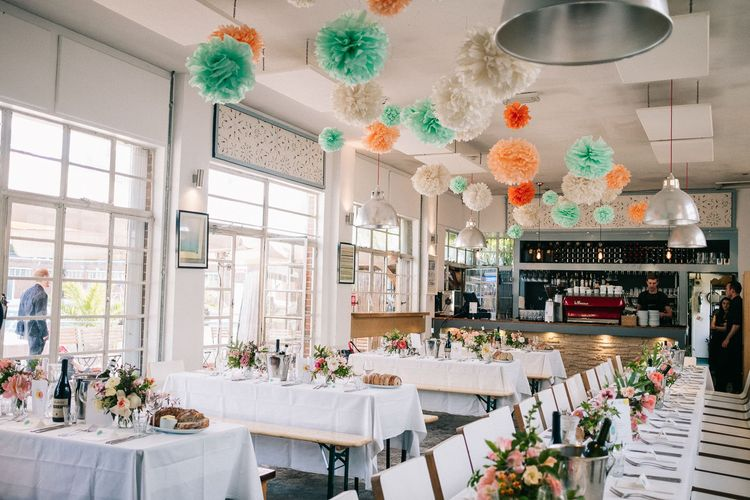 Pom Pom Wedding Decor | Peach & Mint Intimate Wedding Ceremony at the Asylum & Art Deco Reception at Brockwell Lido, London | Babb Photo