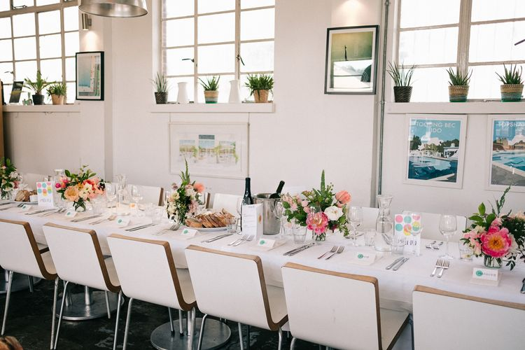 Peach Table Flowers | Peach & Mint Intimate Wedding Ceremony at the Asylum & Art Deco Reception at Brockwell Lido, London | Babb Photo