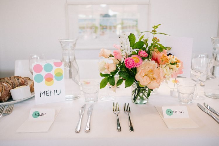 Table Decor | Peach & Mint Intimate Wedding Ceremony at the Asylum & Art Deco Reception at Brockwell Lido, London | Babb Photo