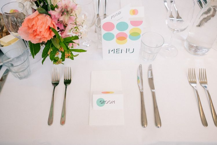 Place Setting | Peach & Mint Intimate Wedding Ceremony at the Asylum & Art Deco Reception at Brockwell Lido, London | Babb Photo