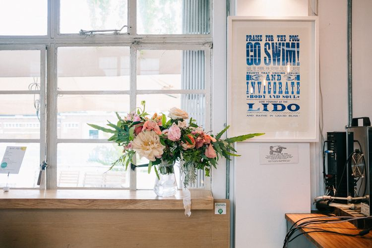 Blush Wedding Flowers | Peach & Mint Intimate Wedding Ceremony at the Asylum & Art Deco Reception at Brockwell Lido, London | Babb Photo