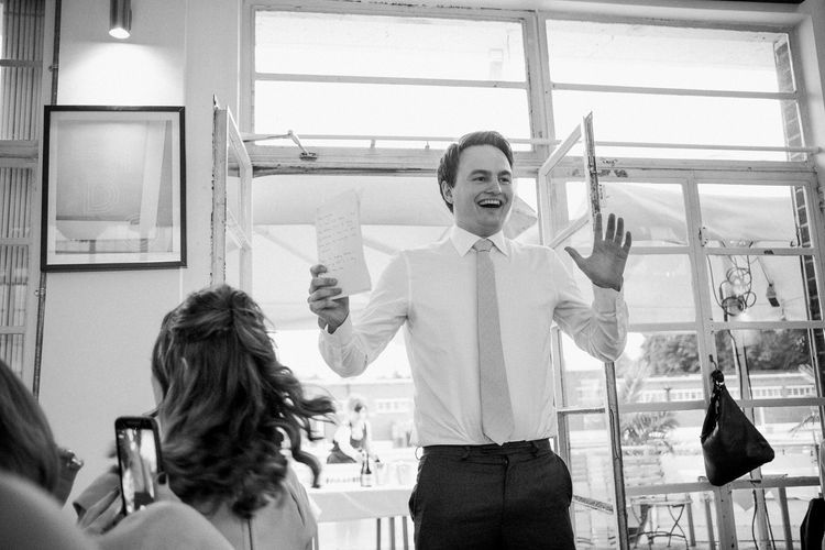 Best Man Speech | Peach & Mint Intimate Wedding Ceremony at the Asylum & Art Deco Reception at Brockwell Lido, London | Babb Photo
