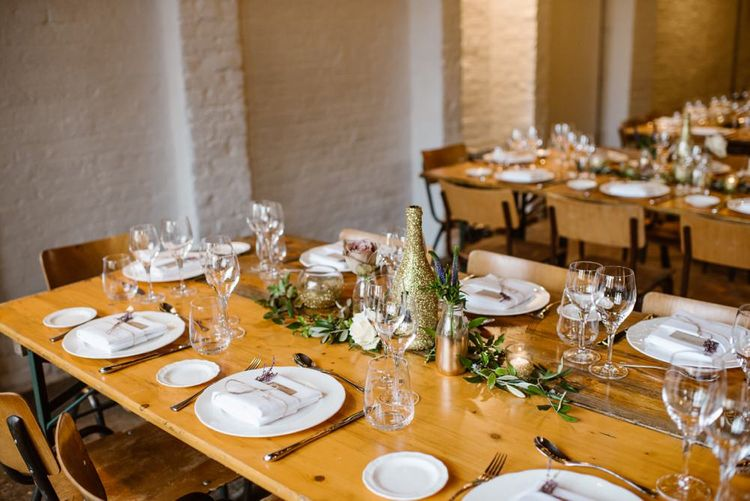 Wooden Trestle Tables   Wedding Reception At Brixton East   Image by Ellie Gillard Photography