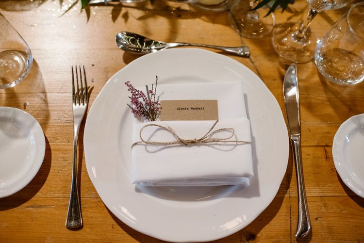 Simple Place Setting For Wedding   Wooden Trestle Tables   Wedding Reception At Brixton East   Image by Ellie Gillard Photography