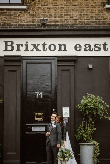 Bride In Leather Jacket   Wedding Reception At Brixton East   Image by Ellie Gillard Photography