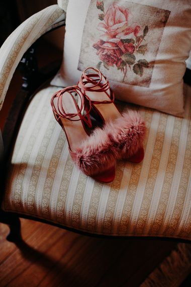 Pink Fluffy Loffler Randall Shoes | Stylish Outdoor Wedding at The Oaks Estate, Greyton, South Africa | Fiona Clair Photography | Ebert Steyn Films