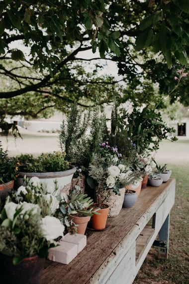 Potted Plants & Flowers Wedding Decor | Stylish Outdoor Wedding at The Oaks Estate, Greyton, South Africa | Fiona Clair Photography | Ebert Steyn Films