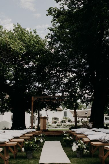 Ceremony Aisle & Altar | Stylish Outdoor Wedding at The Oaks Estate, Greyton, South Africa | Fiona Clair Photography | Ebert Steyn Films