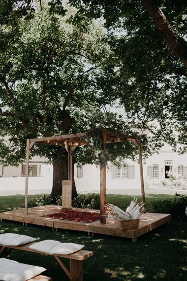 Altar | Stylish Outdoor Wedding at The Oaks Estate, Greyton, South Africa | Fiona Clair Photography | Ebert Steyn Films