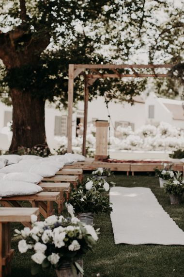 Aisle & Altar Wedding Decor | Stylish Outdoor Wedding at The Oaks Estate, Greyton, South Africa | Fiona Clair Photography | Ebert Steyn Films
