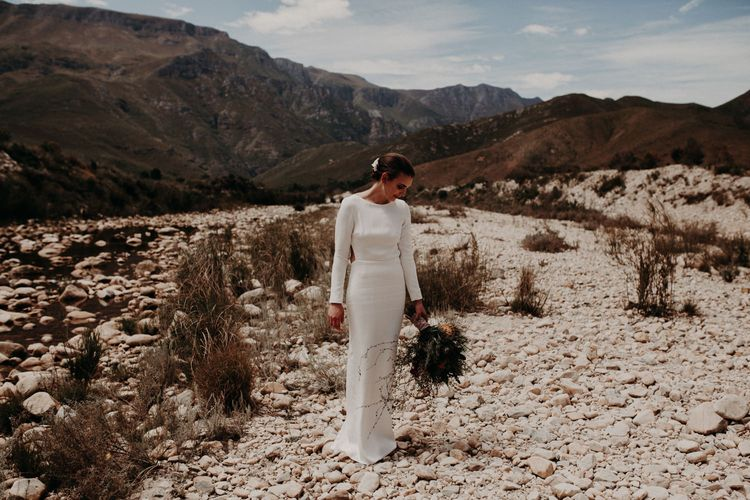 Bride in Houghton NYC Bridal Gown | Stylish Outdoor Wedding at The Oaks Estate, Greyton, South Africa | Fiona Clair Photography | Ebert Steyn Films