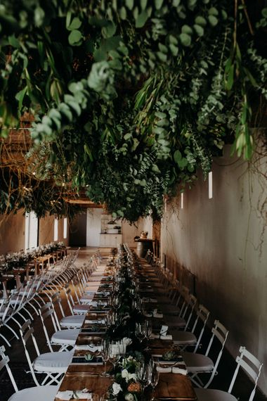 Greenery Hanging Installation | Stylish Outdoor Wedding at The Oaks Estate, Greyton, South Africa | Fiona Clair Photography | Ebert Steyn Films